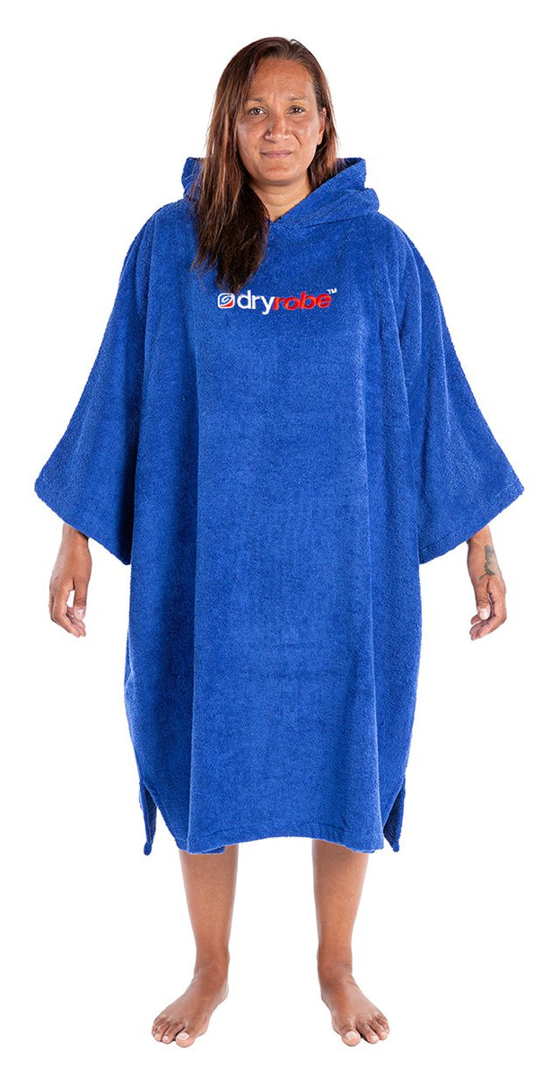 1|L, Adult organic towelling robe change robe Royal Blue Female Front