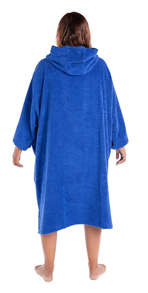 L, Adult organic towelling robe change robe Royal Blue Female Back