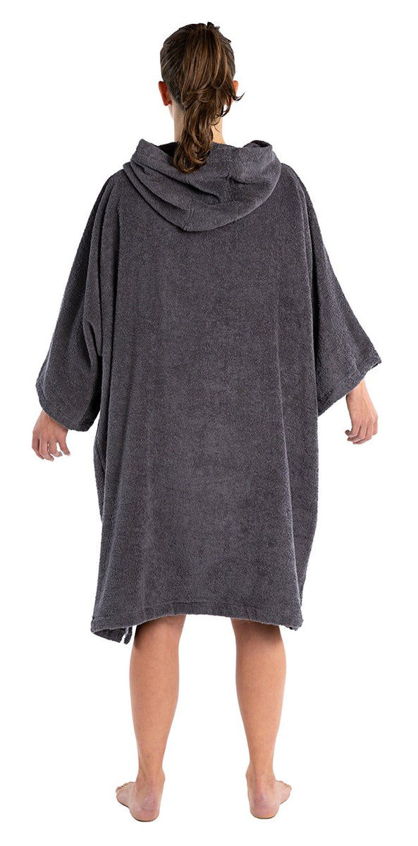 M, Adult organic towelling robe change robe Slate Grey Female Back
