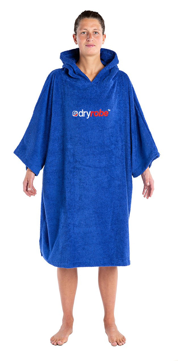 1|M, Adult organic towelling robe change robe Royal Blue Female Front