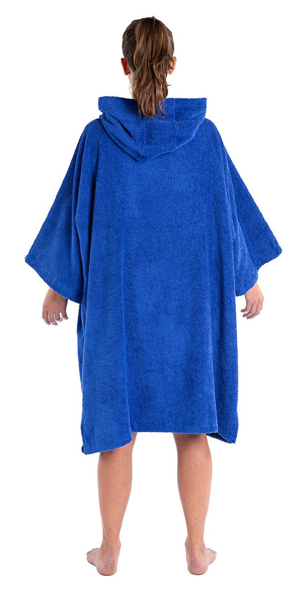 M, Adult organic towelling robe change robe Royal Blue Female Back
