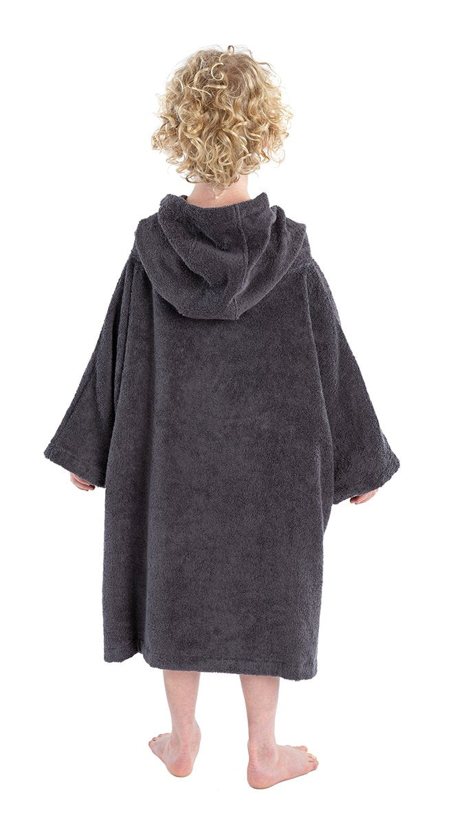 1|XS, Kids Organic Cotton Towel dryrobe Slate Grey Back Boy Hood Down