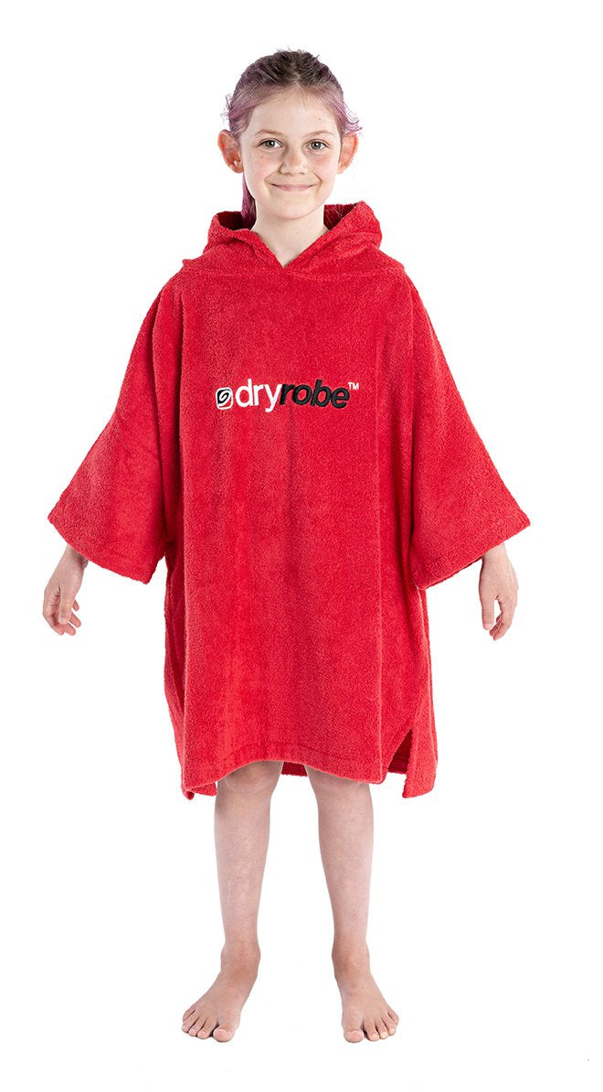 1|XS, Kids Organic Cotton Towel dryrobe Red Front Hood Down Girl