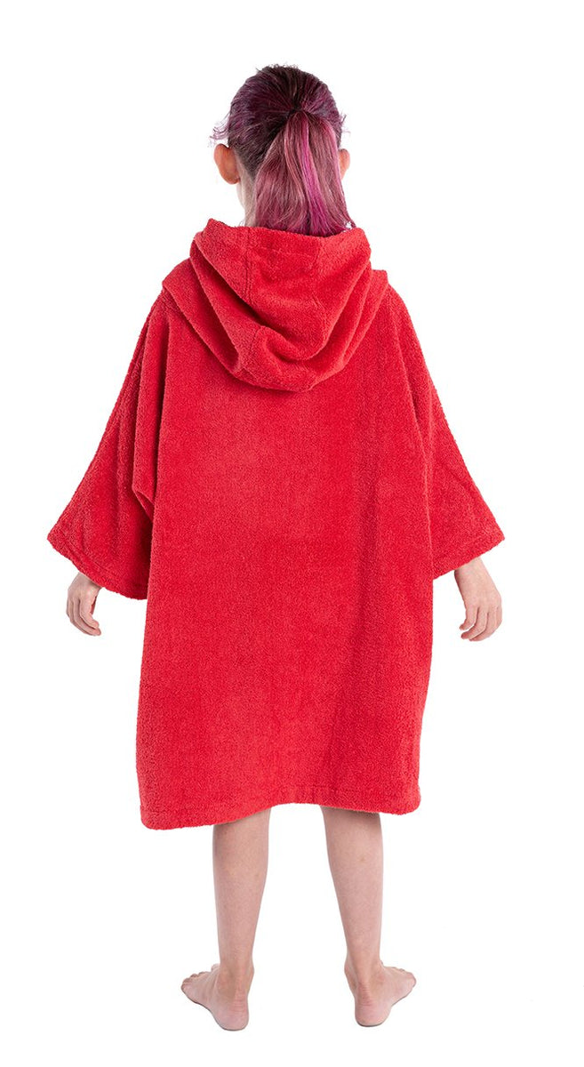 XS, Kids Organic Cotton Towel dryrobe Red Back Hood Down Girl