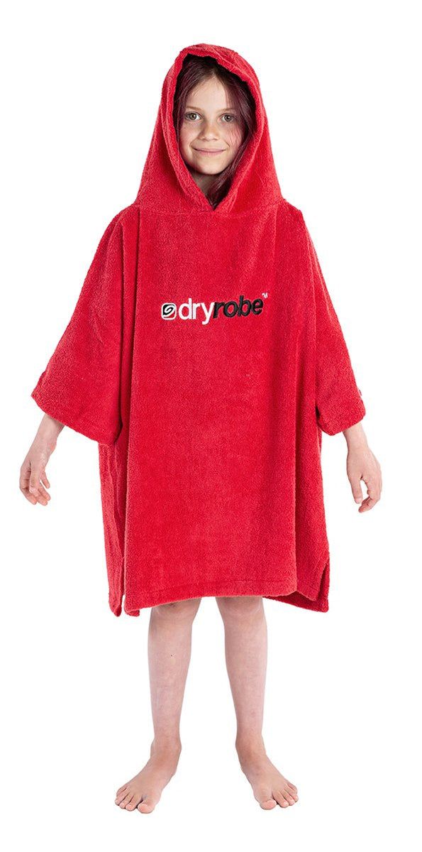 1|XS, Kids Organic Cotton Towel dryrobe Red Front Hood Up Girl