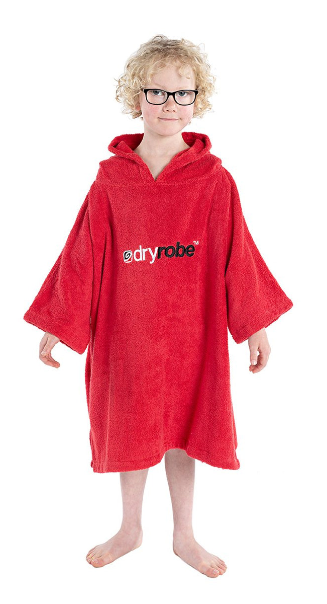 1|XS, Kids Organic Cotton Towel dryrobe Red Front Hood Down Small Boy