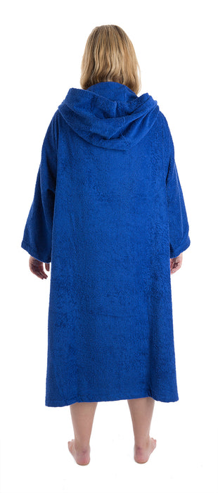Womens towel dryrobe Royal Blue Back