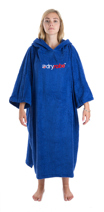 Womens towel dryrobe Royal Blue Front