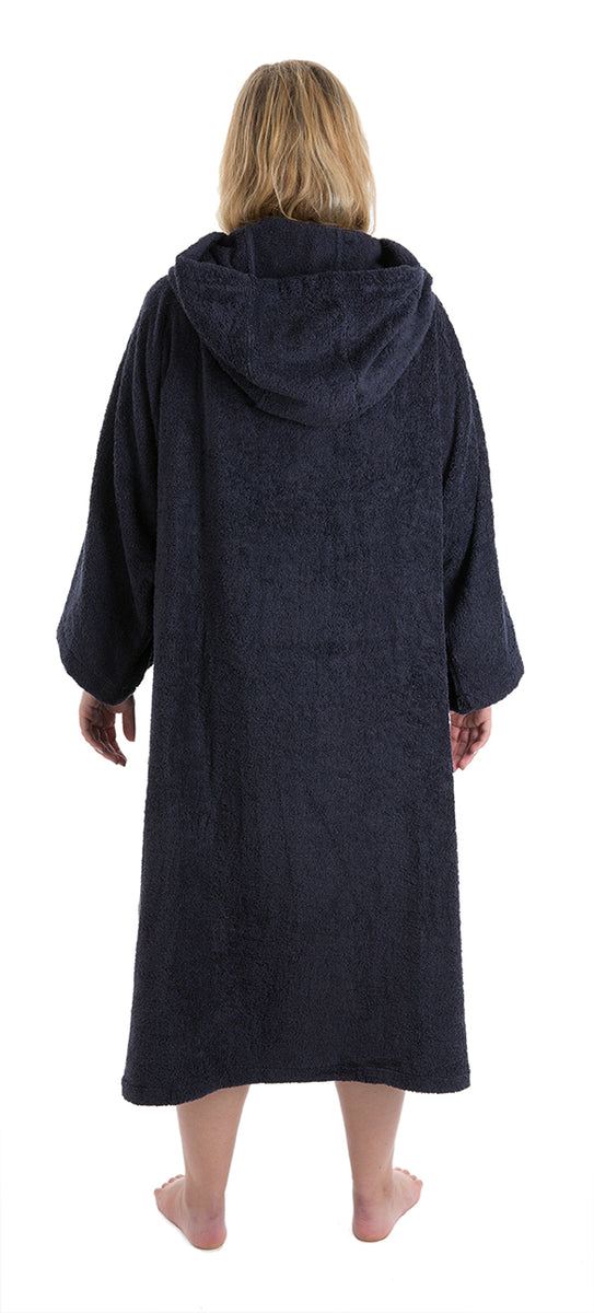 L, Womens Towel dryrobe Navy Blue Back