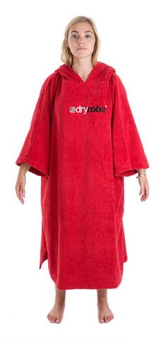 Womens towel dryrobe Red Front