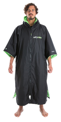 XL, dryrobe Advance Short Sleeve Extra Large Black Green Front