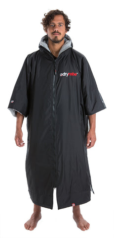 XL, dryrobe Advance Short Sleeve Extra Large Black Grey Front