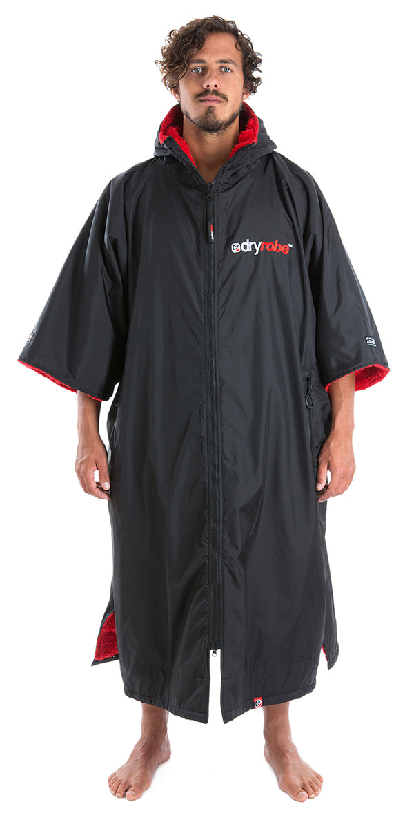 XL, dryrobe Advance Short Sleeve Extra Large Black Red Front