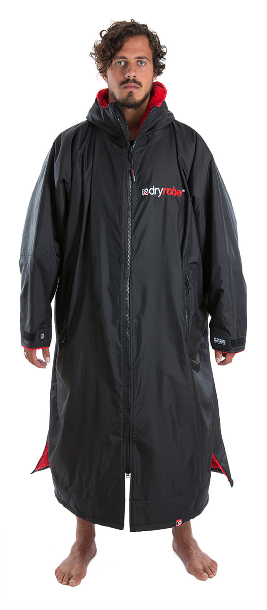 dryrobe Advance Long Sleeve Black Red Extra Large Front