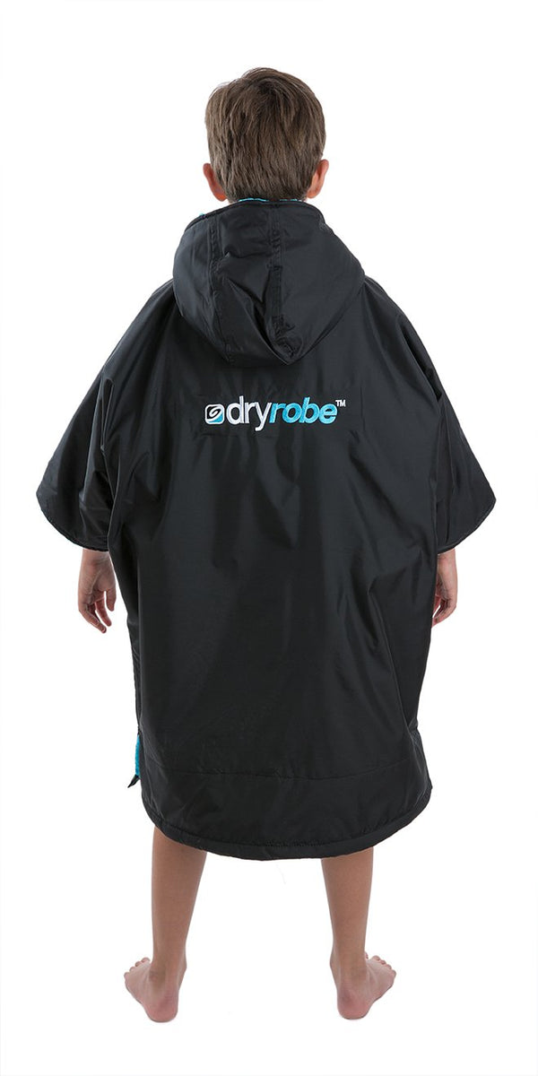 1|XS, Kids dryrobe Advance Short Sleeve Black Blue Back
