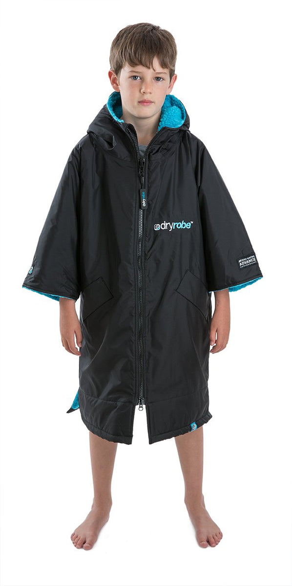 1|XS, Kids dryrobe Advance Short Sleeve Black Blue Front Hood Down