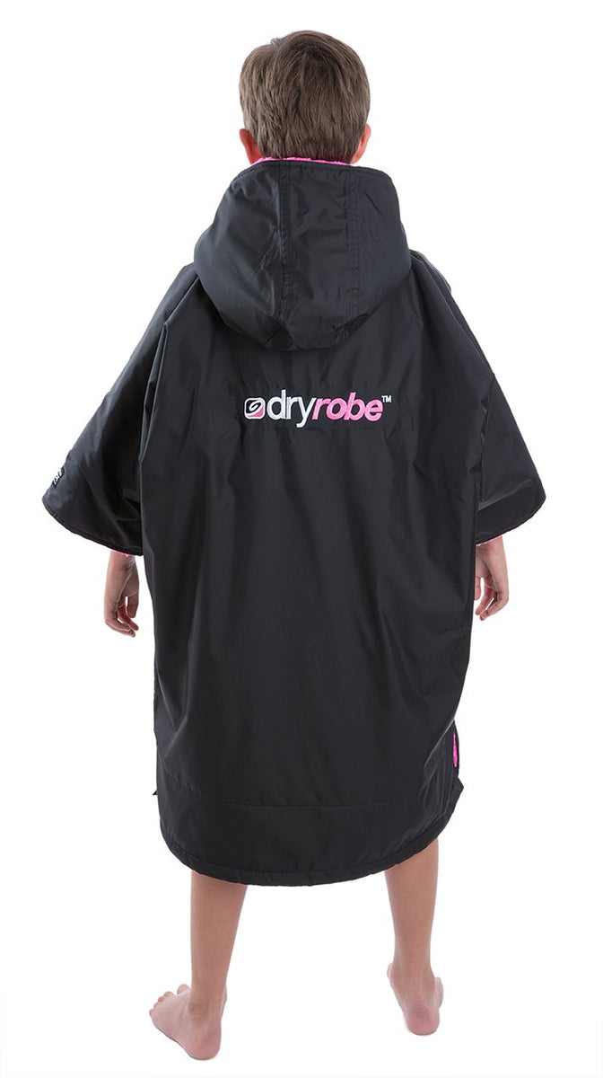 1|XS, Kids dryrobe Advance Short Sleeve Black Pink Back