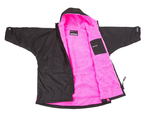 Kids dryrobe Advance Long Sleeve Black Pink Front