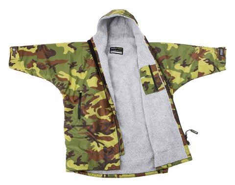 1|S,Kids dryrobe Advance Long Sleeve Camo Grey Front