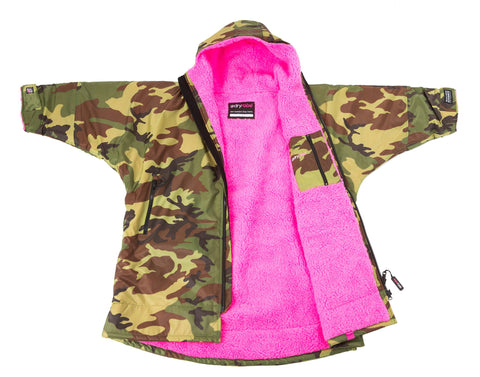 1|S,Kids dryrobe Advance Long Sleeve Camo Pink Side