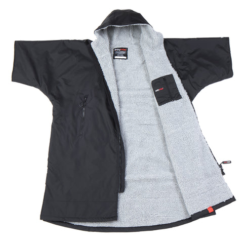 XS, dryrobe Advance Short Sleeve Extra Small Black Grey Front
