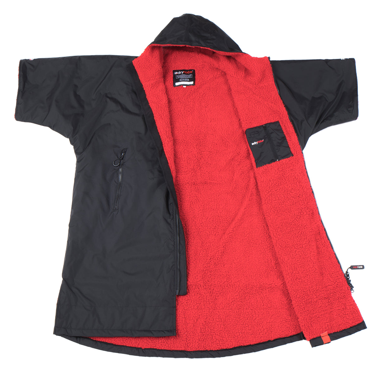 1|XS,S,M,L, dryrobe Advance Short Sleeve Large Black Red Open