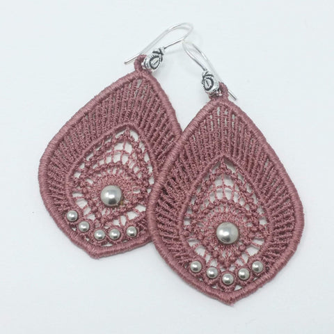 Blush Pink Embroidered Earrings