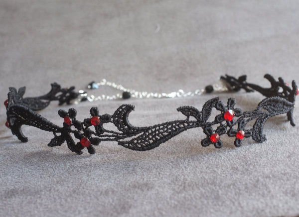 Black Choker Collar with Red Crystals
