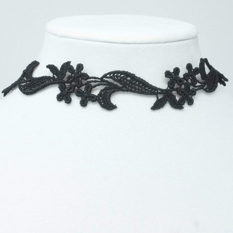 Flower Necklace made with black lace