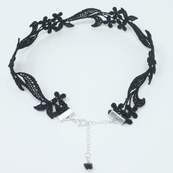 Top view of a black necklace