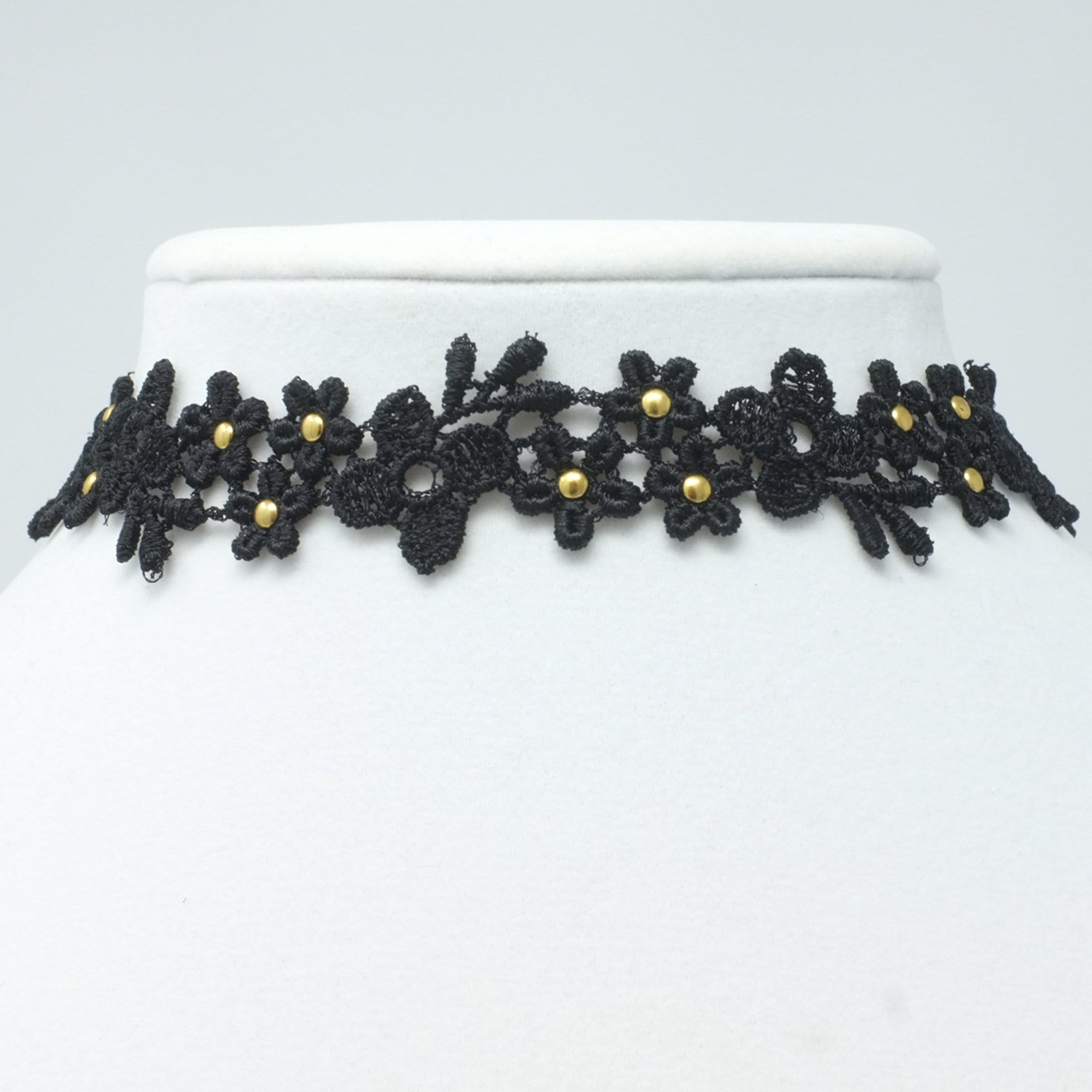 Flower Lace Necklace Embellished with Gold Studs