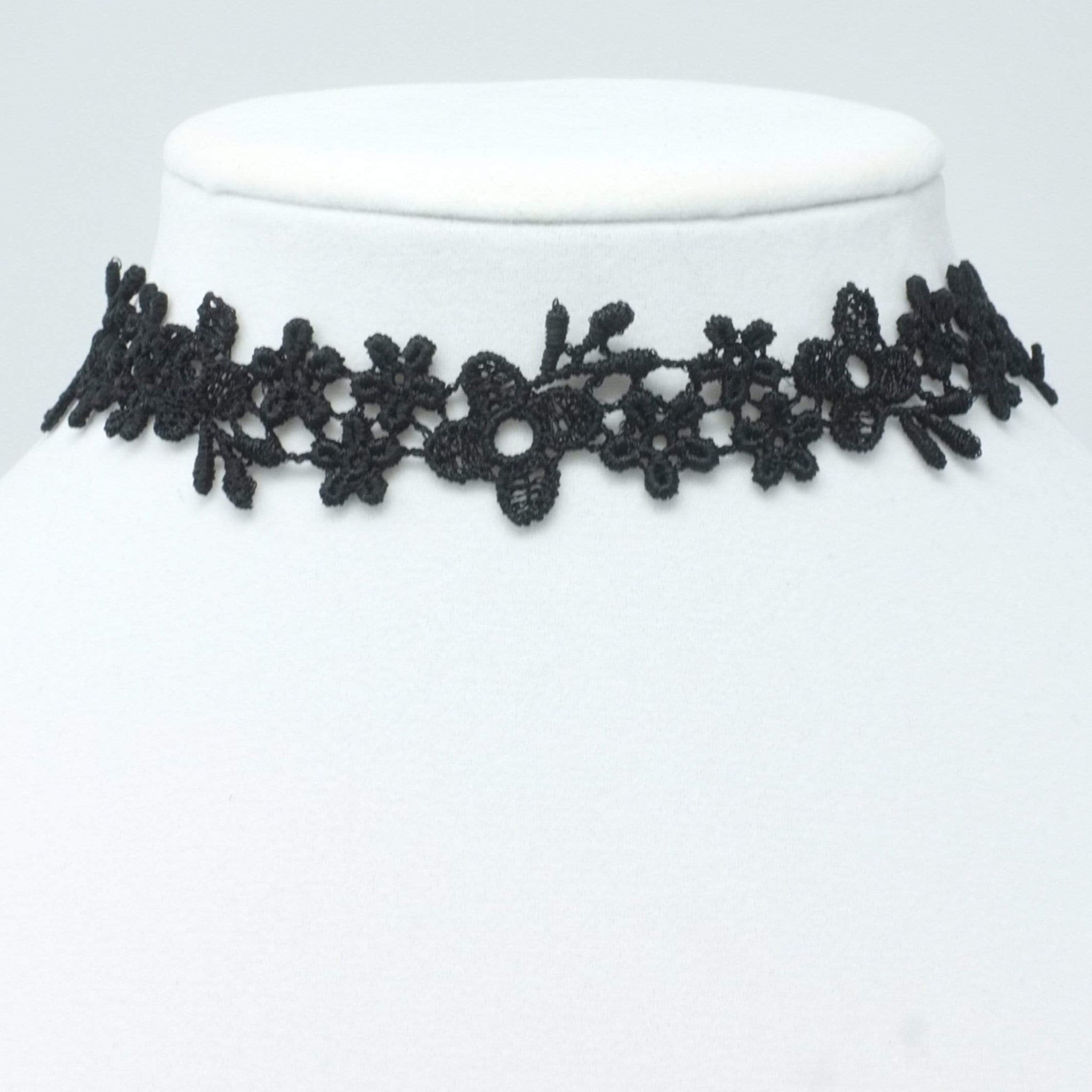 Black choker with multiple flower lace