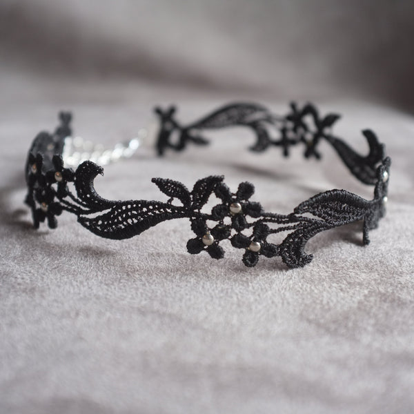 Lace Black Choker with silver studs