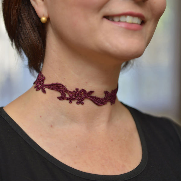 Burgundy Choker Necklace
