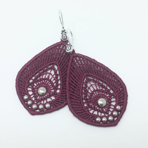 Burgundy Lace Earrings with Silver Studs