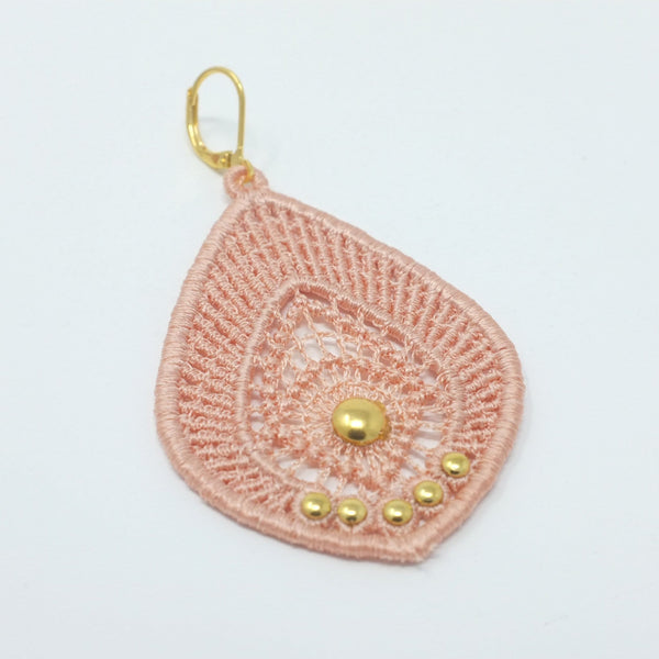 Lace Earrings with Gold Studs