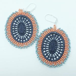 Gray Lace Beaded Earrings