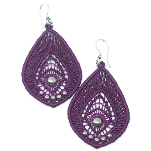 Purple Teardrop Lace Earrings