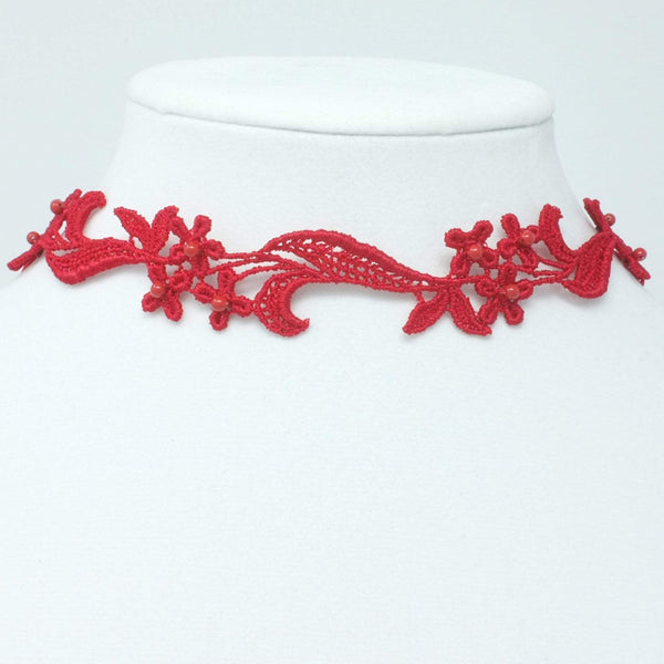 Red Lace Choker with Swarovski