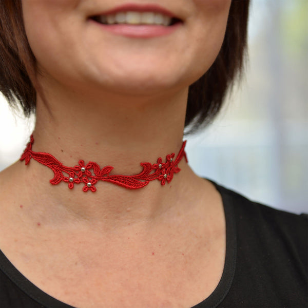 Red Choker Collar with Gold Studs
