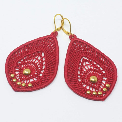 Red and Gold Tear Drop Lace Earrings