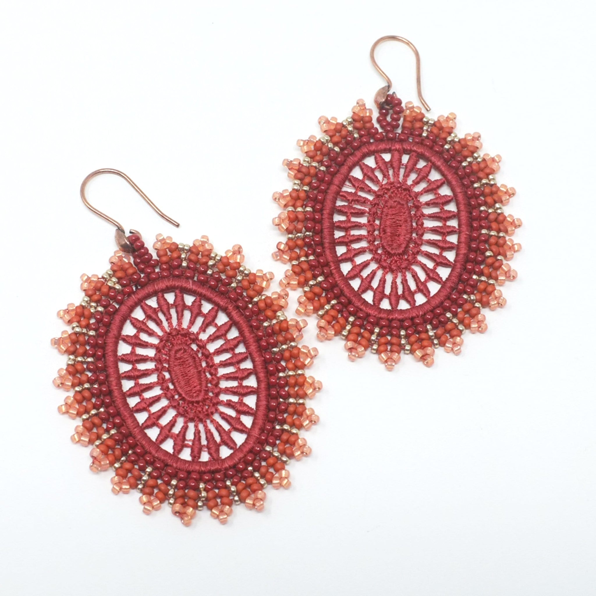 Sunset Bead Embroidered Lace Earrings