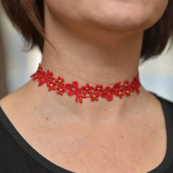 Red and Gold Lace Choker Necklace
