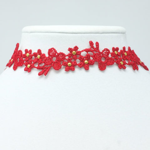 Flower Choker Red and Gold