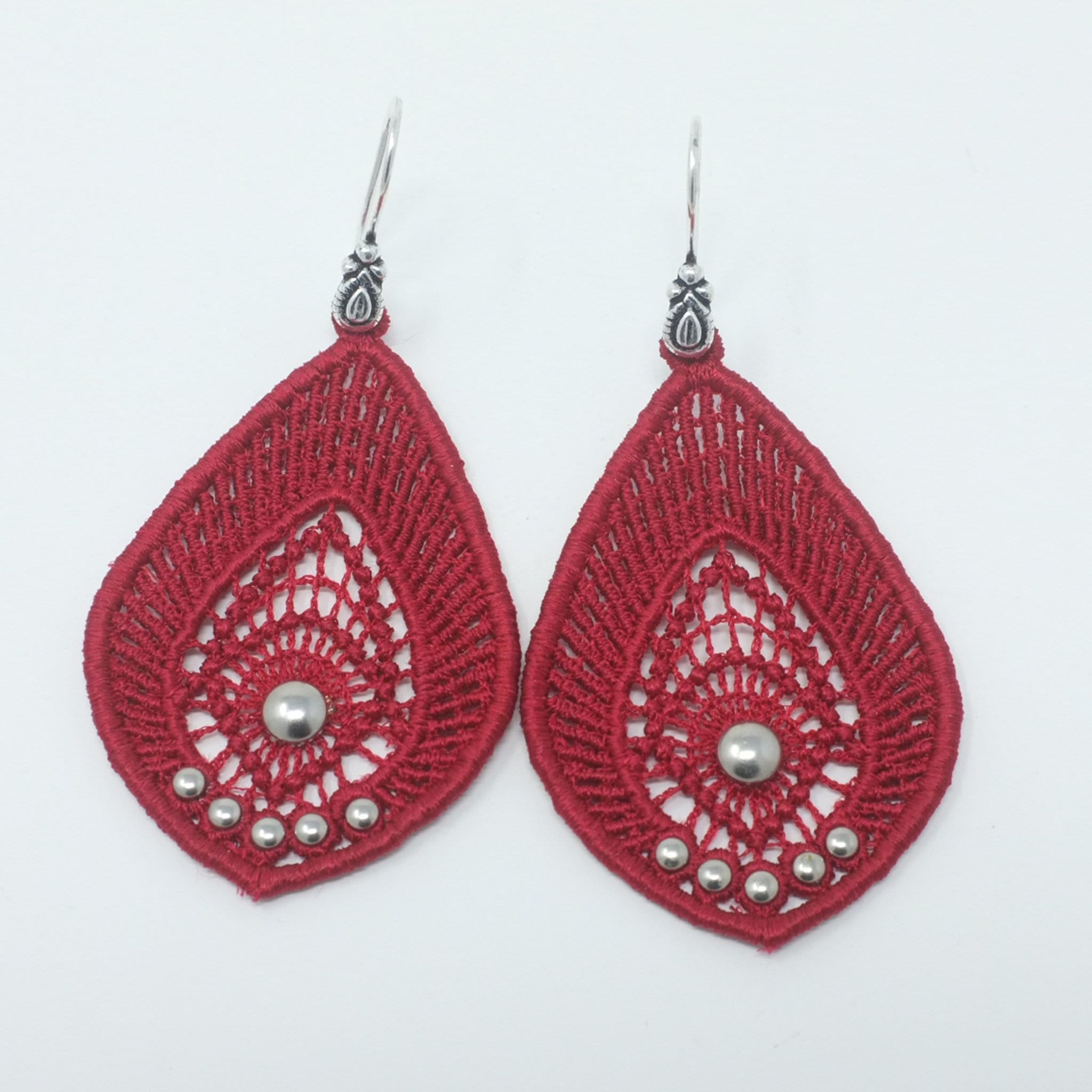 Long Lace Earrings with Silver Beads