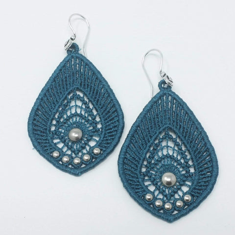 Teal Lace Earrings with Silver Beads