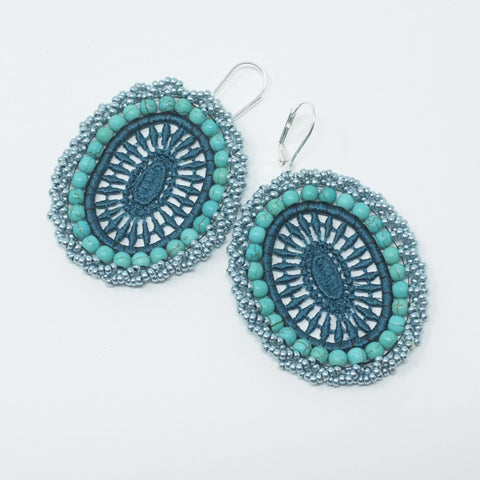 Teal & Metallic Blue Lace Earrings