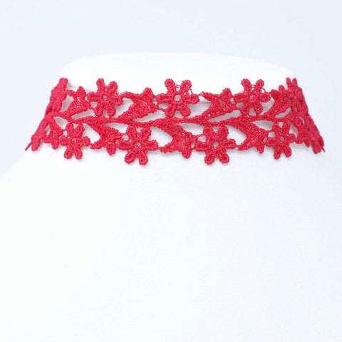 Red Wide Choker with Flowers