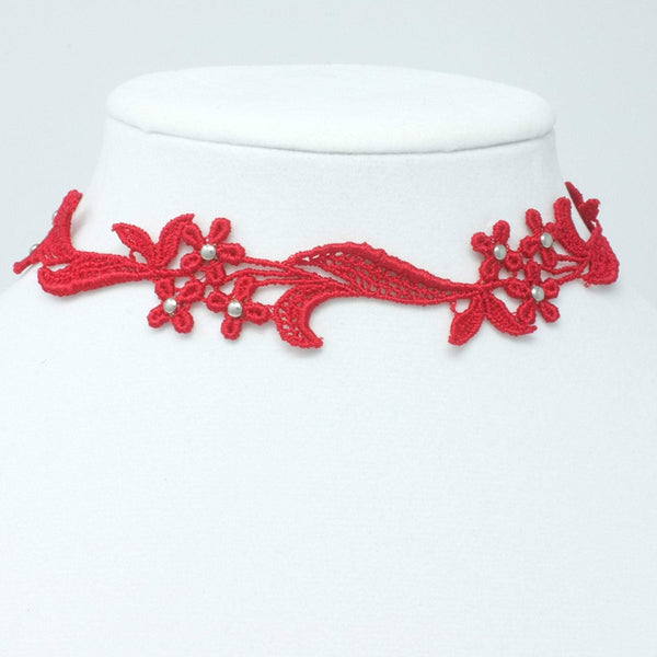Delicate red choker with metal beads