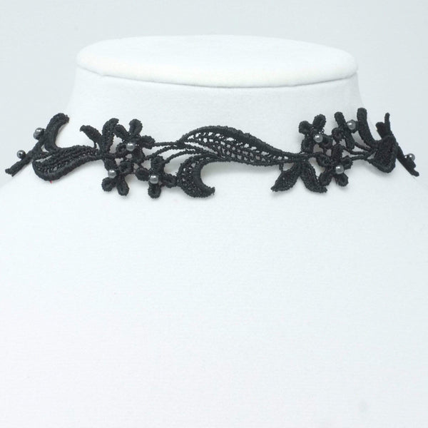 Black Choker with Black Pearls